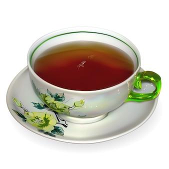Xícara de chá de porcelana. a ilustração contém malhas de gradiente.