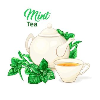 Xícara de chá e bule de cerâmica com chá de hortelã e folhas.