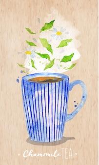 Xícara de chá em aquarela com chá de camomila, desenho em fundo de papel kraft