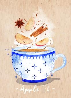 Xícara de chá em aquarela com chá, maçã, canela, anis de desenho em fundo de papel kraft