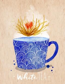 Xícara de chá em aquarela com desenho de chá branco sobre fundo de papel kraft