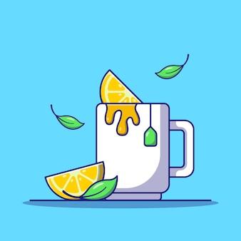 Xícara de chá fresco com ilustração de ícone plana de limão e folhas