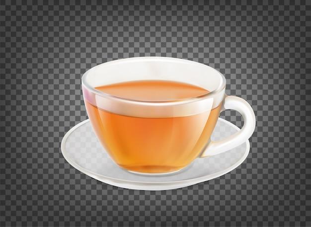 Xícara de chá isolada sobre preto transparente.