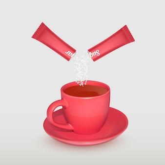 Xícara de chá realista e palito de embalagem com açúcar