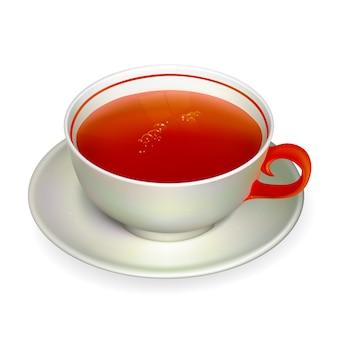 Xícara de chá realista. ilustração contém malha de gradiente.