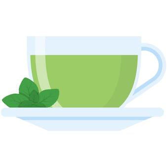 Xícara de chá verde com ícone isolado de folha de hortelã de vetor