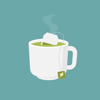 Xícara de chá verde quente design plano ilustração