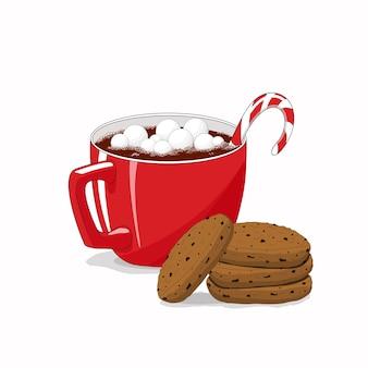 Xícara de chocolate com marshmallows
