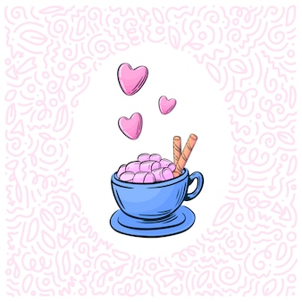 Xícara de chocolate quente com marsmellow na mão desenhada estilo.