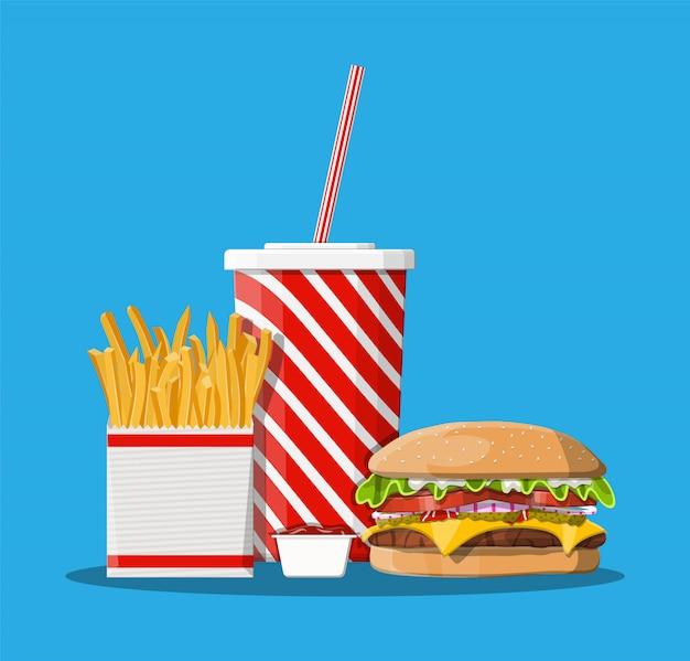 Xícara de coca-cola com batatas fritas e cheeseburger.