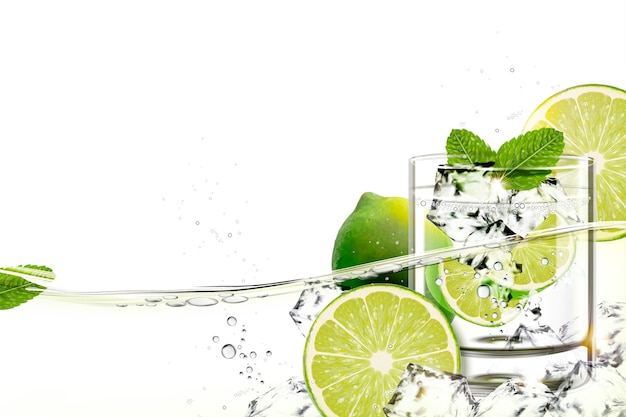 Xícara de mijito com limão e hortelã fluindo em um líquido transparente