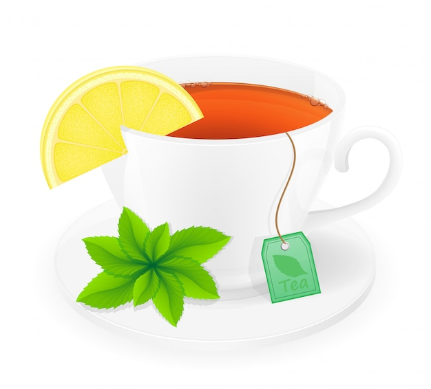 Xícara de porcelana de chá com limão e hortelã ilustração vetorial