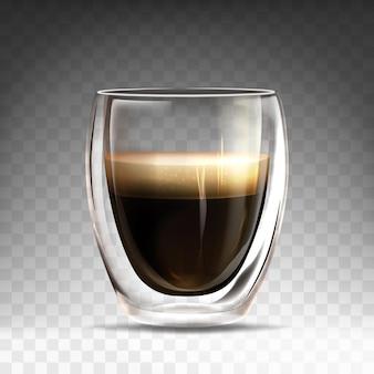 Xícara de vidro brilhante realista com café expresso quente. caneca caneca com parede dupla cheia de aroma americano. bebida de café realista em fundo transparente. modelo de branding, publicidade ou design de produto.