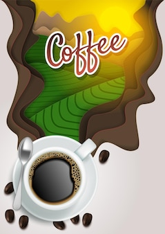 Xícara de vista superior de café aromático quente com grãos de café e corte de papel vapor com letras de café.