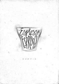 Xícara doppio com letras espresso em estilo gráfico vintage desenhado em fundo de papel sujo
