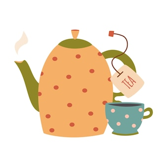 Xícara e bule. pratos com enfeites, pratos de vetor no café da manhã.