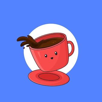 Xícara fofa voando com café derramado contorno ilustração cartoon design plano