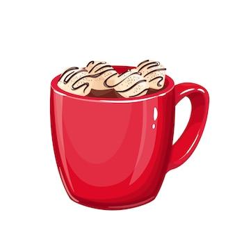 Xícara vermelha com chocolate quente ou cacau e marshmallows