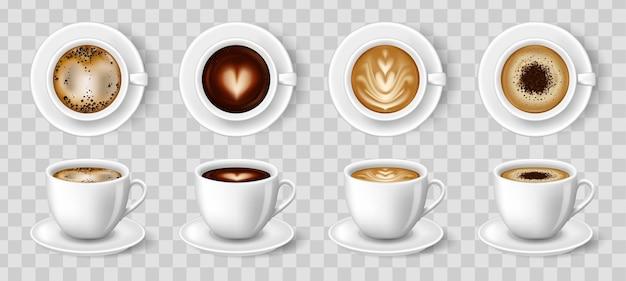 Xícaras brancas de café. espresso latte e bebidas quentes cappuccino