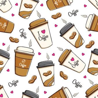 Xícaras de café e grãos de café em padrão sem emenda usando arte doodle