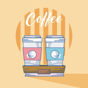 Xícaras de café para ir design gráfico de ilustração vetorial