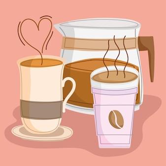 Xícaras de café quente e cafeteira