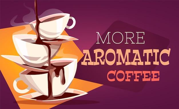 Xícaras de café uma em cima da outra ilustração de desenho animado
