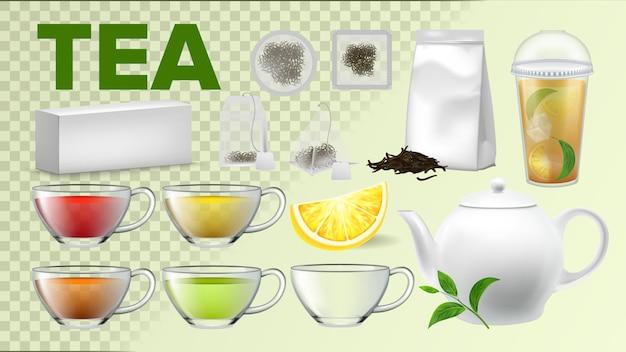Xícaras de chá e utensílios de cozinha de panela