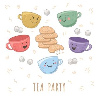 Xícaras de chá fofas, cubos de açúcar e biscoitos