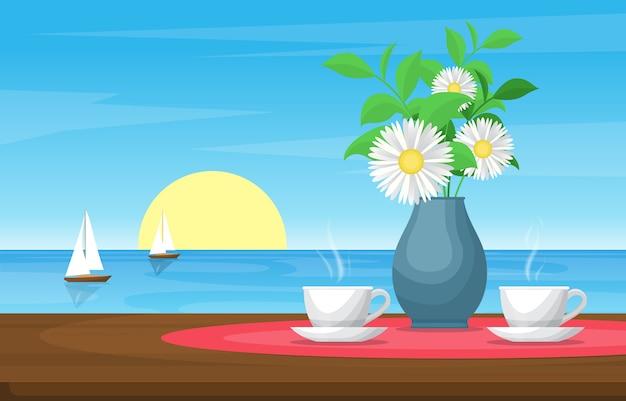 Xícaras de chá na mesa na vista do mar, ilustração de barco à vela ao pôr do sol