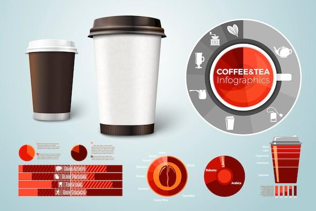 Xícaras de papelão para café e chá, com infográficos, ícones e gráficos de negócios