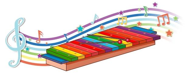 Xilofone com símbolos de melodia na onda do arco-íris