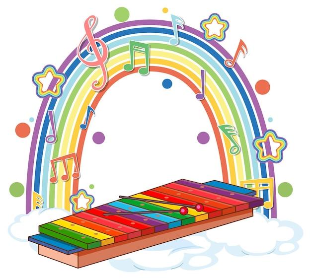 Xilofone com símbolos de melodia no arco-íris