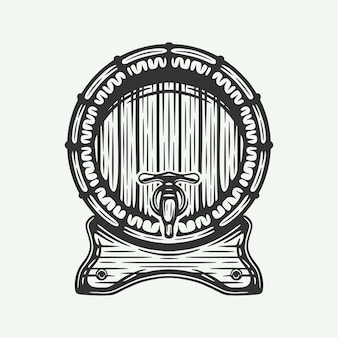 Xilogravura vintage retrô gravando barril de cerveja