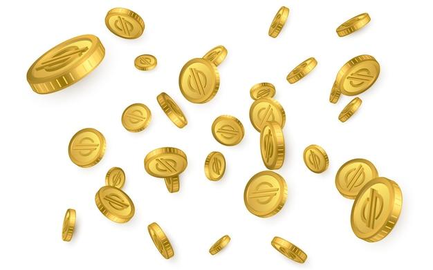 Xlm. explosão de moedas de ouro stellar lumens isolada no fundo branco. conceito de criptomoeda.