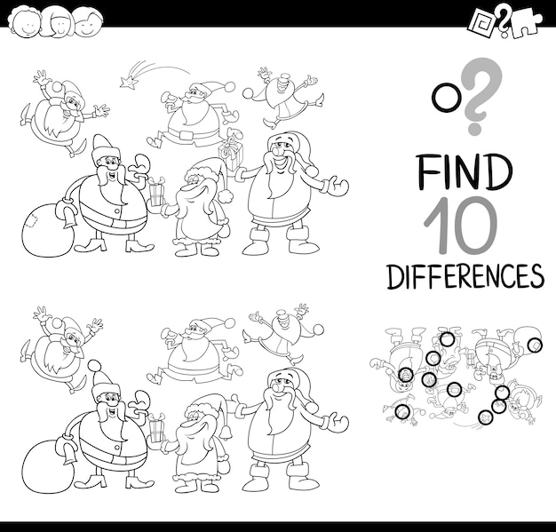 Xmas diferença jogo colorir página