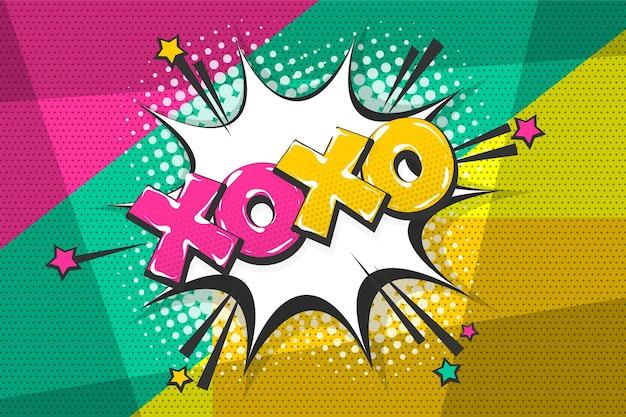 Xoxo beijo amor uau colorido coleção de texto em quadrinhos efeitos sonoros estilo pop art bolha do discurso