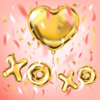 Xoxo e balões de folha de forma de coração para decorações de festa
