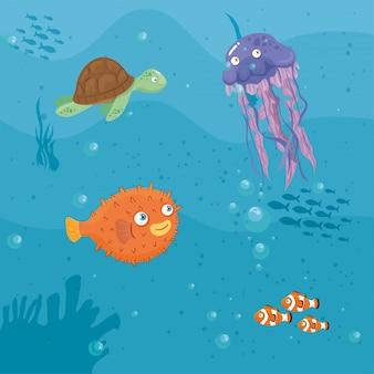 Xxx e animais marinhos selvagens no oceano, habitantes do mundo do mar, criaturas subaquáticas fofas, fauna submarina dos trópicos