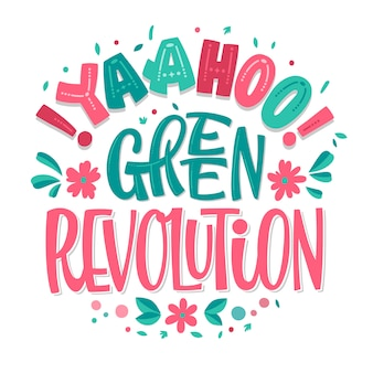 Yaahoo! revolução verde - mão desenhada eco letras.