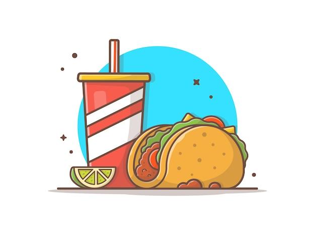 Yaco comida mexicana com limão e refrigerante vector clip-art ilustração