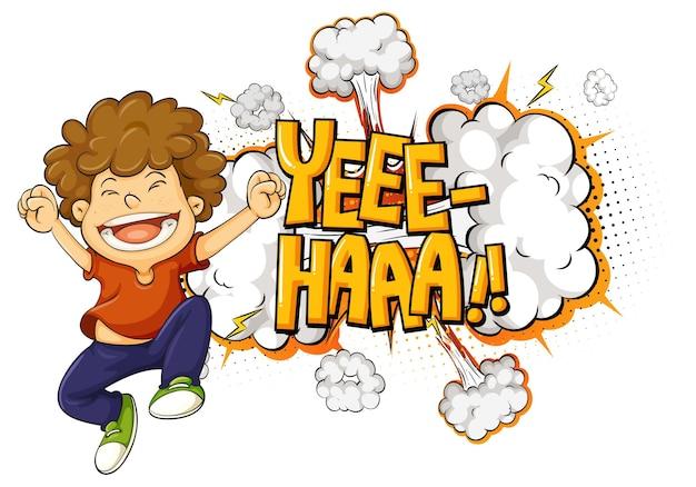 Yeee-haaa palavra sobre explosão de bomba com um menino personagem de desenho animado isolado