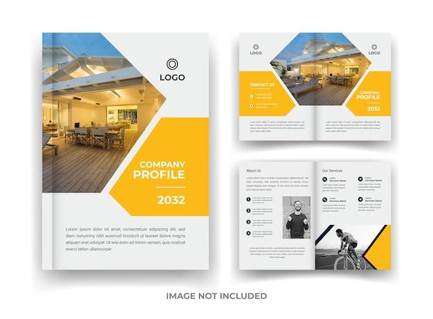 Yellow 04 page business brochure design e relatório anual e modelo de revista