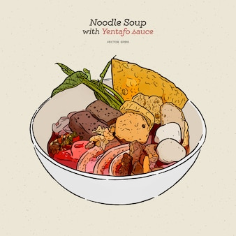 Yen ta fo, macarrão de arroz na sopa rosa