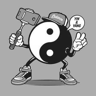 Yin yang símbolo logotipo personagem selfie