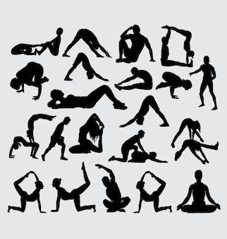 Yoga aeróbico alongamento e silhueta de esporte fitness