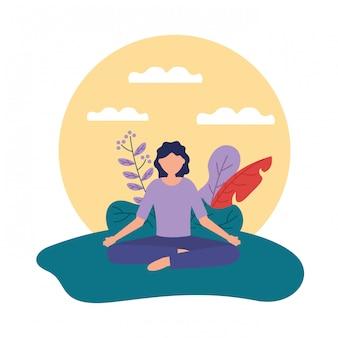 Yoga ao ar livre em estilo simples