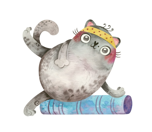 Yoga cat cute personagem esportivo