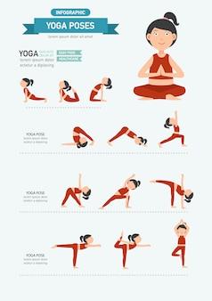 Yoga coloca infográficos. vetor