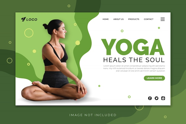 Yoga cura o modelo de página de destino da alma